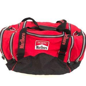 Vintage Marlboro Red Duffel Spellout Bag gym EUC